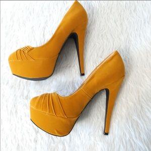 Mustard Yellow Platform Heels